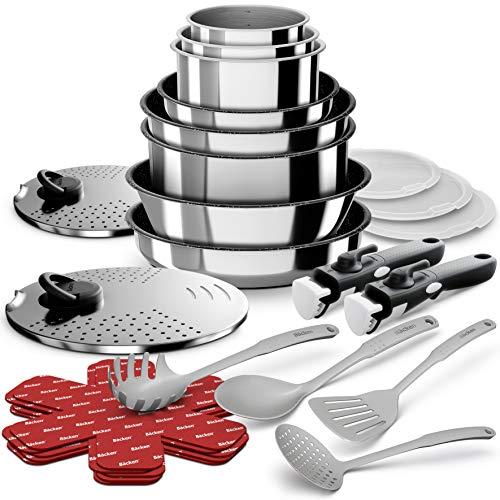 Backen 199924 - Batería de cocina (24 piezas), acero inoxidable