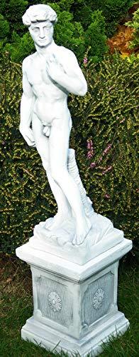 Deko Garten Figur Statue David von Michelangelo auf klassischer Säule als Satz Skulptur aus Beton Gesamthöhe 85 cm