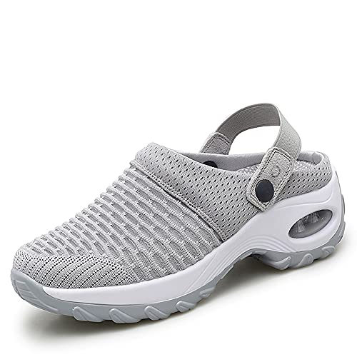 KT-TAIDENG Orthopedic Walking Sandals,Women's Breathable Casual Air Cushion Slip-on Shoes Orthopedic Walking Sandals, Mesh Slip On Air Cushion (Gray,6)