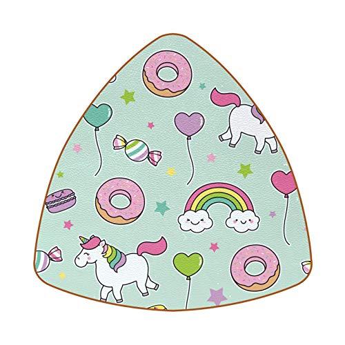 Juego de 6 posavasos de bebida, diseño único para posavasos rústicos con posavasos antideslizantes con diseño de unicornio, caballo, arcoíris donuts dulces