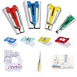 Fabric Bias Tape Makers Kit with Sewing Awl, Bead Needles, Adjustable Binder Clip, Wooden Awl, Foot Press for Quilting