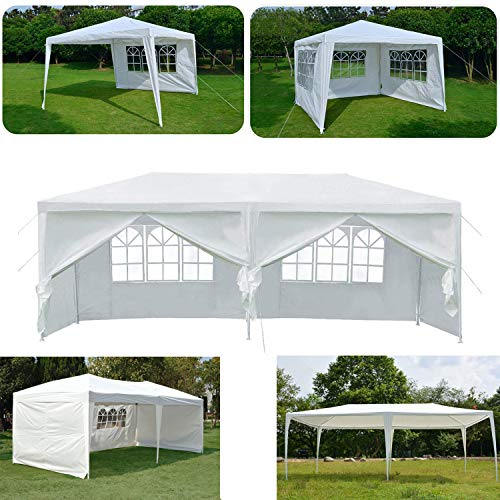 AutoBaBa 3x3m 3x4m 3x6m Party Gazebo Tent Marquee Awning Canopy For Outdoor Wedding Garden with Side Panels, Fully Waterproof, White (3x3m)