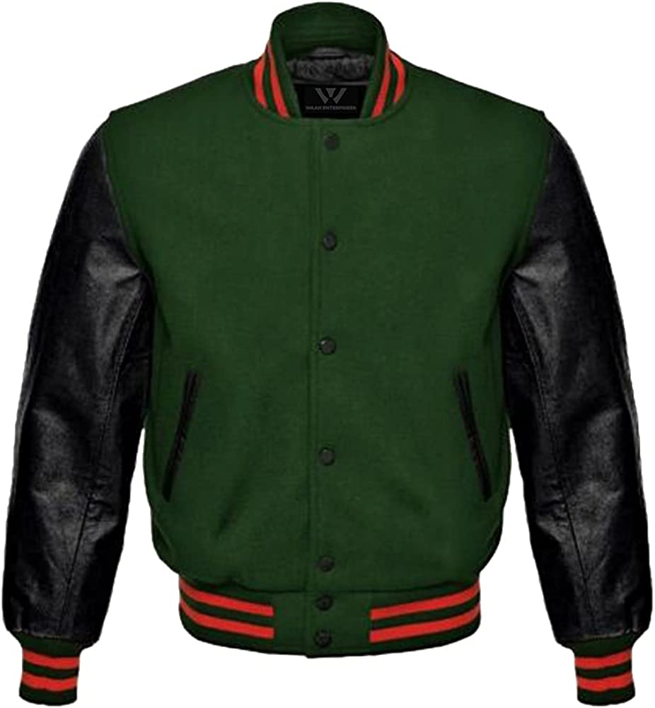 Baseball Letterman Bomber School College Credence half Varsity Jacket Wo Green
