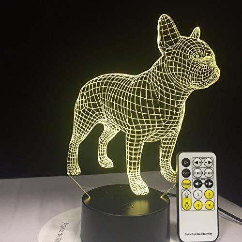 Toopower Bulldog 3D lámpara de Mesa remota o táctil Contol DIRIGIÓ Regalo de cumpleaños de la luz Nocturna del Perro Colorido USB Iluminación de sueño (Emitting Color : Without Controller)