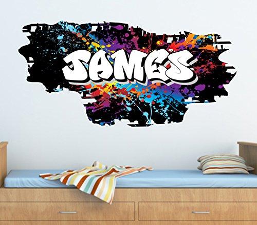Personalised Graffiti Paint Splat Brick & Name Wall art Sticker 95cm (w) x 46cm (h) ,TR46