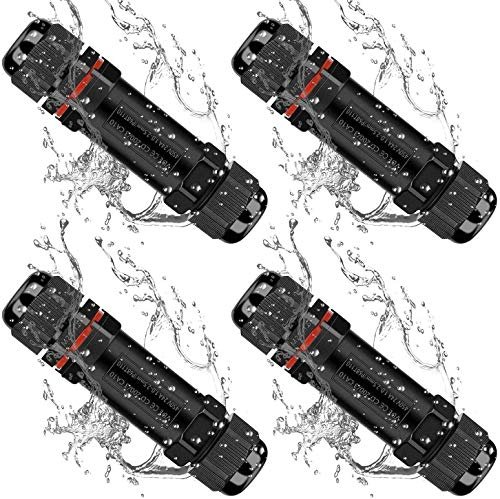 TOCYORIC conector de cable 4 Pack, cajas de conexiones exterior impermeable IP68 con 3 polos, cable eléctricoCajas de conexiones para cable (negro, PVC) para iluminación de jardí(Negro)