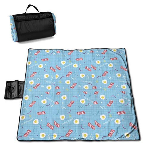 Jinitami Large Waterproof Outdoor Picnic Blanket Bacon Egg Striped Blue Plaid Sandproof Beach Mat Tote for Camping Hiking Grass Travelling