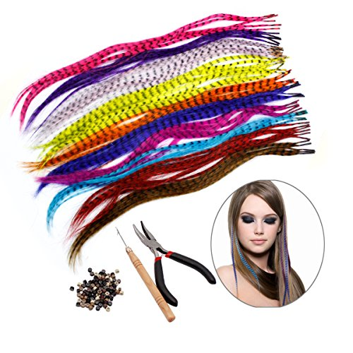 HQdeal Kit de extensión de pelo de plumas con 52 plumas sintéticas, 100 cuentas, alicates y gancho (colores mezclados)