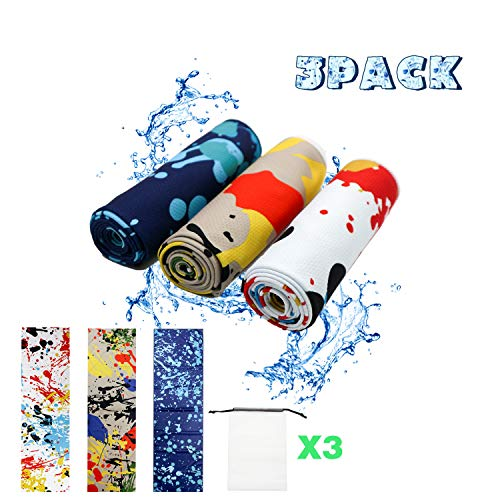 Kühlhandtuch cool towel, microfaser handtücher set, fitness handtuch, sporthandtuch, fitnesshandtuch, cool down towel kühlendes handtuch, Für Fitness Gym Golf Yoga, 3 PACK (Wild sports style)