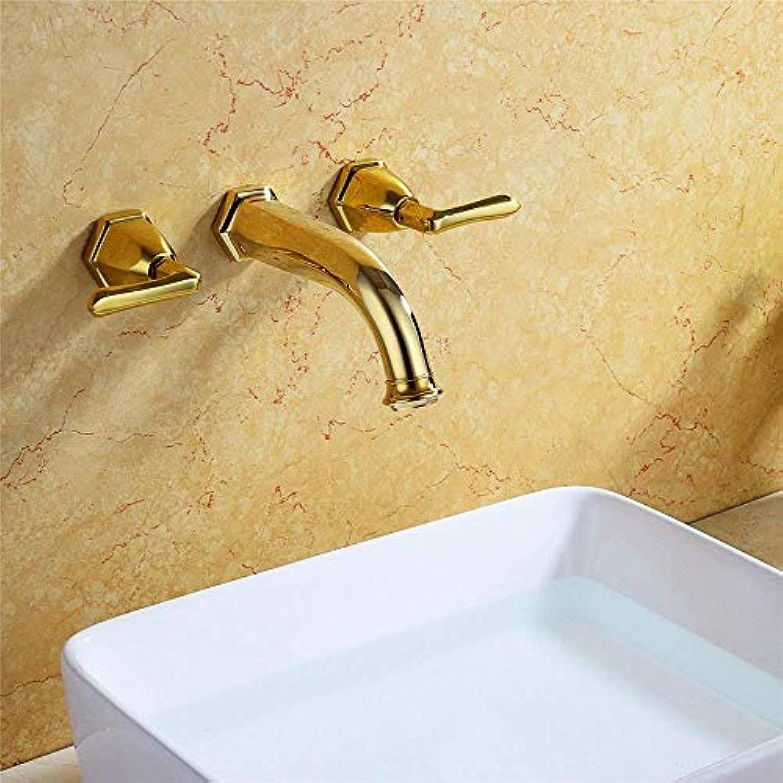 Oudan Küchen-Mischbatterien Antike Küchenspüle Becken-Mischbatterie Wandhalterung aus massivem Messing Kalt-und Warm-Griff-Mischbatterien (Farbe   -, Gre   -)