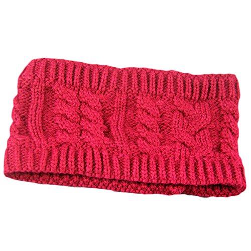 ECYC® Crochet Stretch Tricot Bandeau Hiver Chaud Bandeau Turban pour Les Femmes, Rouge