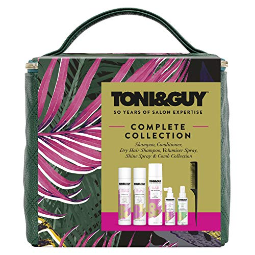 Toni&Guy Amazon Exclusive Complete Style Gift Set Vegan Leather Carry-All Bag Collection Cube Gift Set, Christmas Presents for her 5 Pieces
