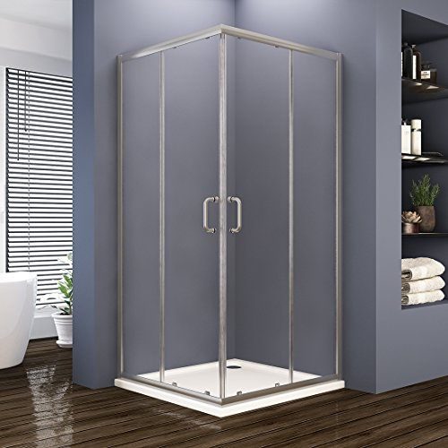 ELEGANT 36'' D. x 36'' W. x 72'' H. Double Opening Sliding Shower Enclosure, 2 Stationary Panels 1/4'' Clear Glass Shower Door, Brushed Nickel