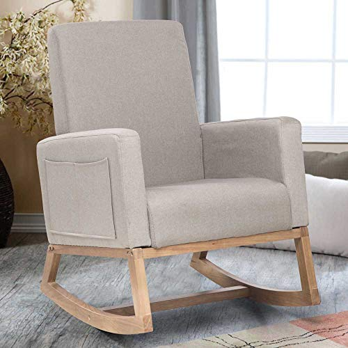 Nursery Rocking Chair Modern High Back Rocking Chair Heavy Duty Leisure Chair Beige