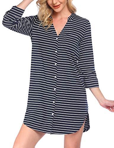 Damen Streifen Nachthemd Pyjama V-Ausschcnitt Nachtkleid Mit Durchgehend Knopfen Langarm Modal Schlafshirt Nachtwäsche Schlafanzüge Sleepwear Zum Stillen Blau XXL