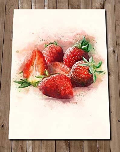 Amazon Com Kitchen Prints Strawberry Art Red Fruit Artwork Watercolor Strawberries Wall Decor Poster Handmade