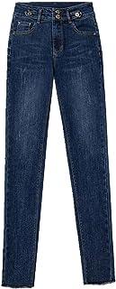 N\P Pantalones vaqueros de cintura alta para mujer de otoño delgados leggings ajustados elásticos lápiz pantalones largos