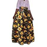 Yuandian Mujer Maxi Falda Plus Size Estilo étnico Africano Falda Cintura Alta Gasa con Cinturón Faldas Largas Señoras Colores Elegante Estampado Floral Plisadas Maxi Faldas De Fiesta 6# M