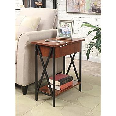 Convenience Concepts Tucson Electric Flip Top Table, Black/Cherry