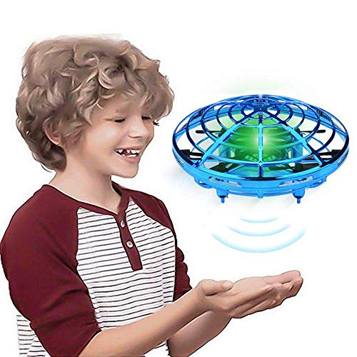 Hand Operated Drones for Kids Adults Helicopter with 360° Rotating and Shinning LED Lights, Easy Indoor Flying Ball Hands Boys and Girls Toys (Blue)