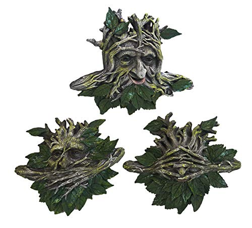 Ebros Large 11' Wide Nature Spirit God Leafman Celtic Greenman See Hear Speak No Evil Hanging Wall Decor Plaques Set Of 3 Wiccan Tree Of Life Forest Shepherd Horned God Cernunnos Ent Mythical Fantasy Decorative Sculpture