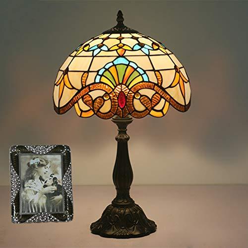 Siunwdiy Abat-Jour Verre Teinté Lampes Table Tiffany Lampe Lecture à Ampoule E27 Lampe Bureau Antique pour Salon Chevet Chambre à Coucher - H19 * W12 Pouces,Metal Base