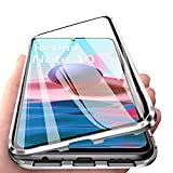 IEMY Funda para Xiaomi Redmi Note 10 4G Adsorcion Magnetica 360 Grados Protección Carcasa Cristal Transparente Templado Metal Flip Cover, Plata