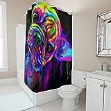 Mops Farbiges Graffiti H&etier Duschvorhang Bad Gardinen Schlafsaal Vorhang Easy Installieren Shower Curtain mit Haken White 180x200cm