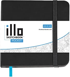 illo Sketchbook, Pocket, Small, Square, Sketch Book, Premium, 180 GSM Paper, (4.5x4.5) Hardcover Notebook, Lay Flat, Smoot...