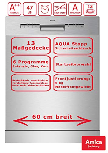 Amica Einbau Geschirrspüler Spülmaschine 60cm unterbaubar, Aqua Stopp, 13 Maßgedecke EGSPU 513 910 E