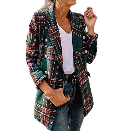 Hibasing Chaqueta a Cuadros Estilo Vintage para Mujer Blazer Estampado