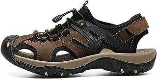 أحذية HIIHHIIHI للرجال كاجوال ، صنادل رجالي صيفية ، جلد طبيعي مضغوط المشي لمسافات طويلة رياضية ، شاطئ مائي للعمل في الهواء...