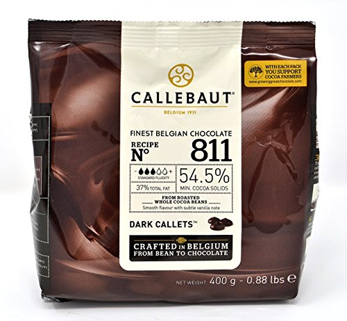 Callebaut N° 811 (54,5%) - Chocolat de Couverture Noir Belge - Finest Belgian Dark Chocolate (Callets) 400g