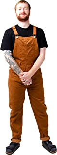 Wash Clothing Company Mens Loose Fit Cord Dungarees Brown Oversized Relaxed fit bib Overalls BERTIECORD