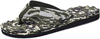 SHENTIANWEI Summer Flip Flops for Men Slippers Slip-on Camouflage Massage Fabric Upper Casual Breathable Anti-Slip Round Open Toe Flat