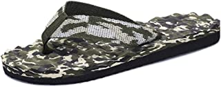 QinMei Zhou Summer Flip Flops for Men Slippers Slip-on Camouflage Massage Fabric Upper Casual Breathable Anti-Slip Round Open Toe Flat (Color : Green, Size : 8.5 UK)