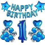 HONGECB 1er Cumpleaños Globos Azul, Globos De Confeti, Cumpleaños Decoraciones Para Chico, Numeros 1, Estrellas y Corazón, Pancarta De Happy Birthday Azul, para Fiestas, Eventos Escolares