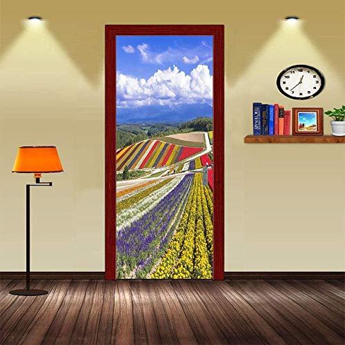 Cjzyy Murales De Puertas Autoadhesivas 3D Peel And Stick Decor Stickers Beautiful Rainbow Ribbon Terraces Plants Bonsai Flowers For Bedroom Livingroom Diy Wallpaper Removable Art Poster-95x215cm