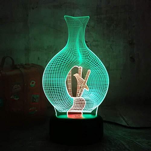 3D illusie LED nachtlampje kerstcadeaus nachtlicht nieuwe vaas dier & Amp Vogel 3D LED nacht Lihgt 7 Double Mix Double Color nieuw kerstcadeau voor kinderen thuis meerkleurige decoratie met afstandsbediening