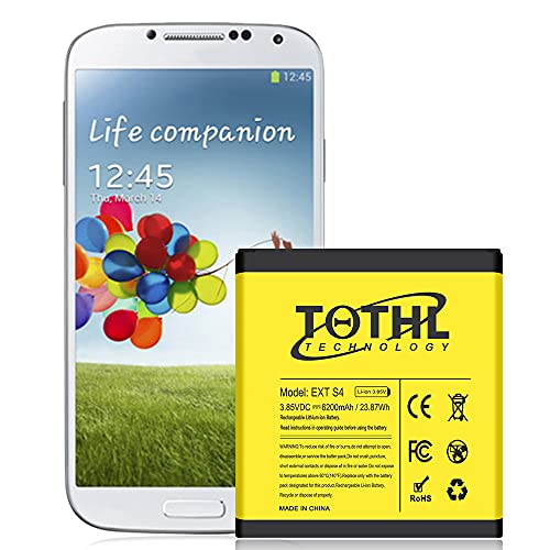 Battery for Galaxy S4, 6000mAh Replacement Li-ion S4 Extended Battery and Black Back Cover and TPU Case