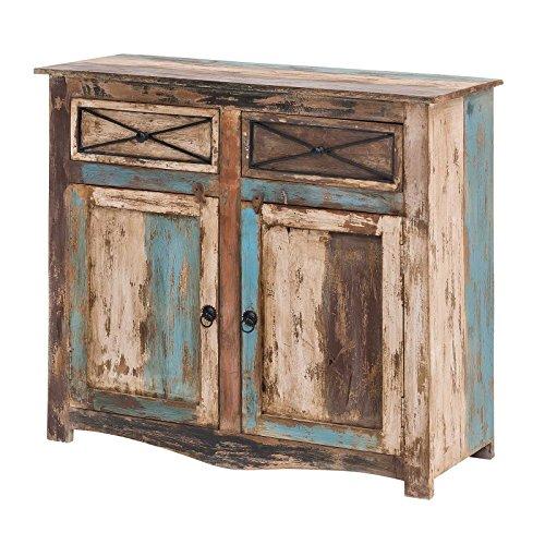 MÖBEL IDEAL Kommode Vintage Holz Bunt Massiv bemalt lackiert 100 cm Breit Mango Massivholz