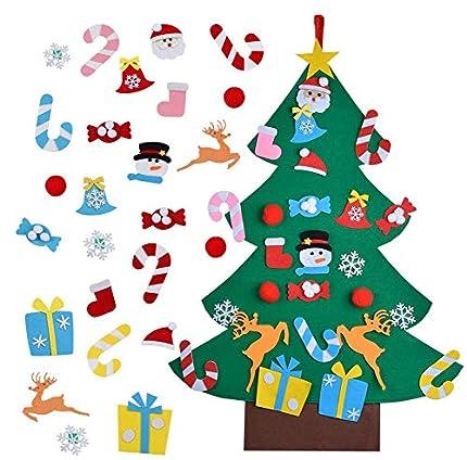 BLAZOR Arbol de Navidad de Fieltro 3.1 ft con 25 pcs Adornos de extraíble Ornamente DIY Adornos Navideñas Decoración Regalo para Niños Pared de Puerta Decoración Colgante