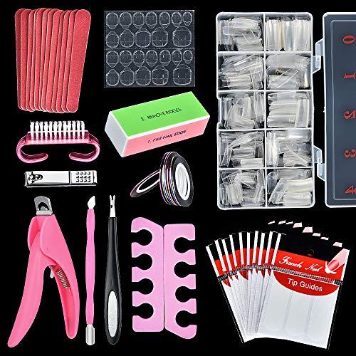 500 Pcs Fingernägel Tips, HailiCare Transparente Acryl-Tipps, Französisch Künstliche Falsche Nägel Tips zur DIY Maniküre mit Nagelbürste, Nagelfeilen-Set und Nagelknipser für Frauen Mädchen(10 Größen)