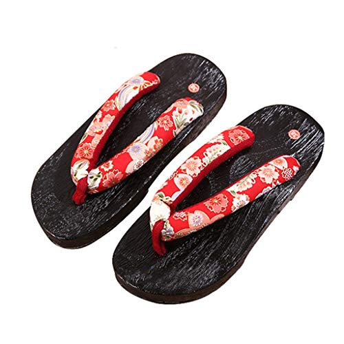 YXCKG Wooden Slippers Mens Japan Traditional Shoes, Mens Women Flip Flop Slippers, Slippers Indoot Outdoor Sandals, Flat Shoes, Japanese Kimono Sandals (Color : C, Size : EUR 38-39)