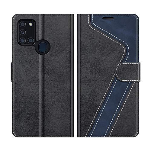 MOBESV Handyhülle für Samsung Galaxy A21s Hülle Leder, Samsung Galaxy A21s Klapphülle Handytasche Case für Samsung Galaxy A21s Handy Hüllen, Modisch Schwarz