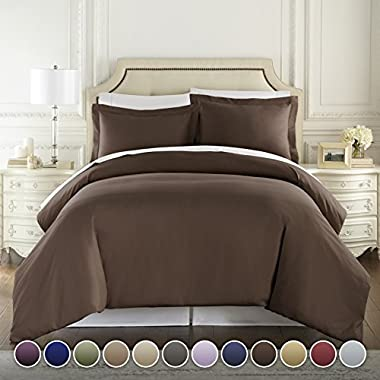 HC COLLECTION Hotel Luxury 3pc Duvet Cover Set-1500 Thread Count Egyptian Quality Ultra Silky Soft Premium Bedding Collection-King Size Brown