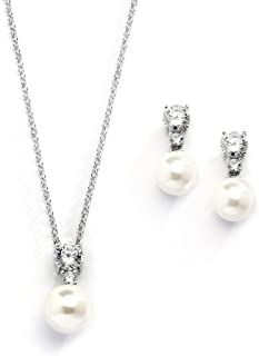 Cubic Zirconia & Ivory Pearl Wedding Necklace and Earrings Jewelry Set for Bridesmaids & Brides