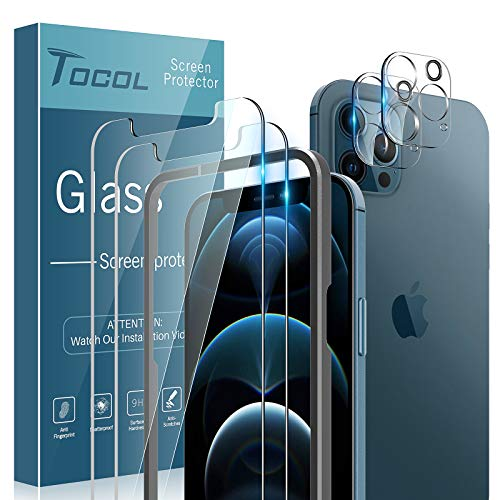 TOCOL 4 Pack Compatible with iPhone 12 Pro (Not for iPhone 12) - 2 Pack Tempered Glass Screen Protector and 2 Pack Glass Camera Lens Protector with Alignment Frame Bubble Free Case Friendly - Clear