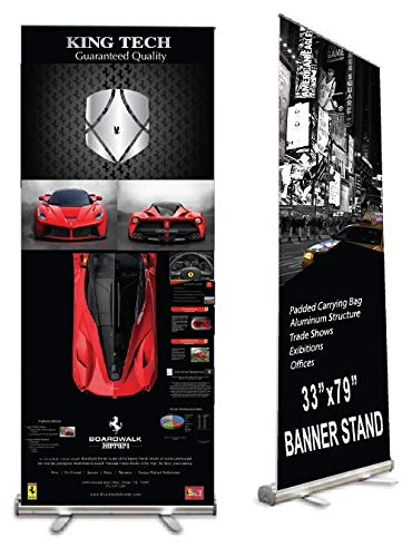 King Tech Retractable Banner Stand, Roll up Banner Stand 33 x 79 for Trade Show, Aluminum Structure with Padded Carrying Bag, Banner Excluded