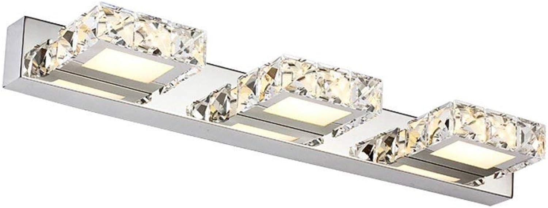 LED Mode K9 Crystal Spiegel vorne Licht Badezimmer Schlafzimmer Spiegelschrank Lampe Edelstahl Beleuchtung (Farbe  Warmes, weies Licht-3 Scheinwerfer)